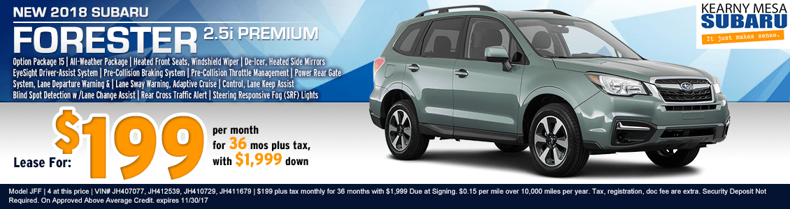 2018 Forester Premium low payment lease special at Kearny Mesa Subaru in San Diego, CA