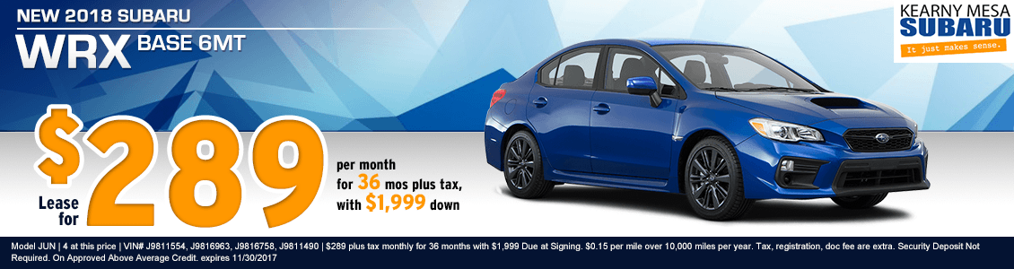 2018 WRX Base 6MT lease special at Kearny Mesa Subaru in San Diego, CA