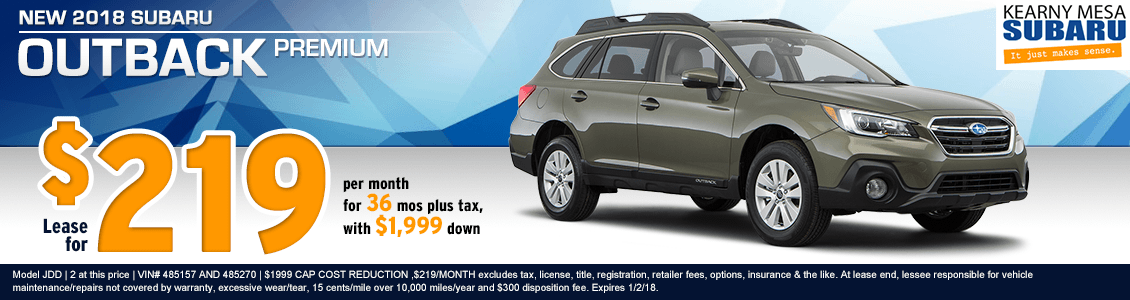 2018 Outback Premium lease special at Kearny Mesa Subaru in San Diego, CA