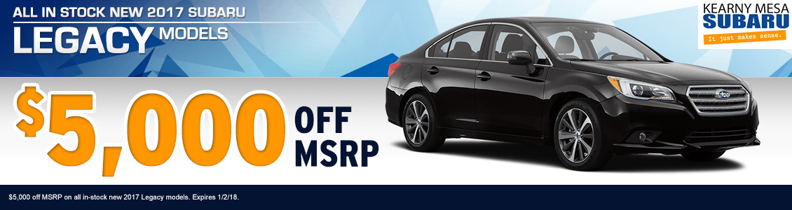 2017 Subaru Legacy discount savings special at Kearny Mesa Subaru in San Diego, CA