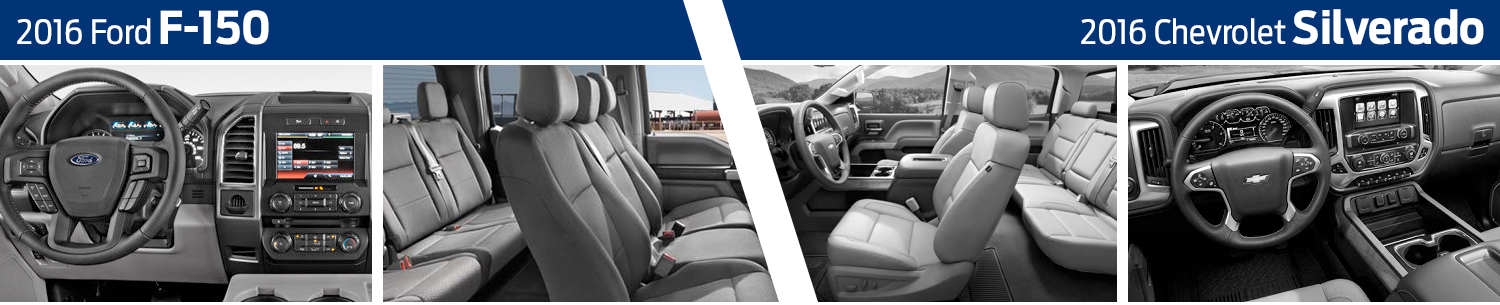 2016 Ford F-150 VS 2016 Chevrolet Silverado Interior Model Comparison