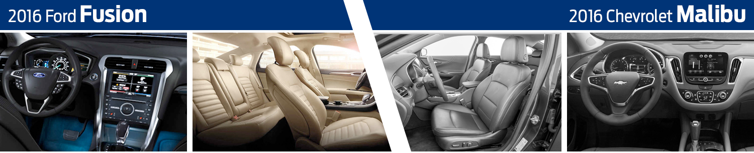 2016 Ford Fusion VS 2016 Chevrolet Malibu Interior Model Comparison