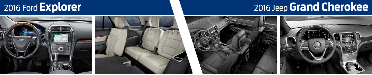 2016 Ford Explorer vs Jeep Grand Cherokee Model Interior Comparison