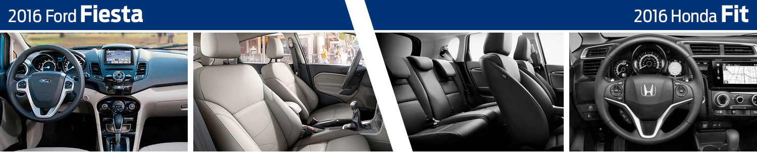 2016 Ford Fiesta vs 2016 Honda Fit model interior comparison