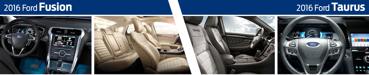 2016 Ford Fusion vs 2016 Ford Taurus model interior comparison