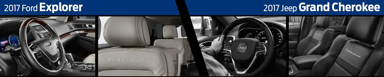 Compare 2017 Ford Explorer Interior vs Jeep Grand Cherokee