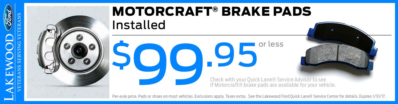 Motorcraft Brake Pads Installed Service Special in Lakewood, WA