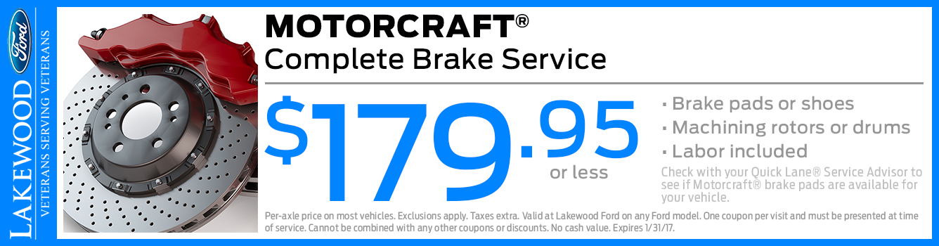 Motorcraft Complete Brake Service Special in Lakewood, WA
