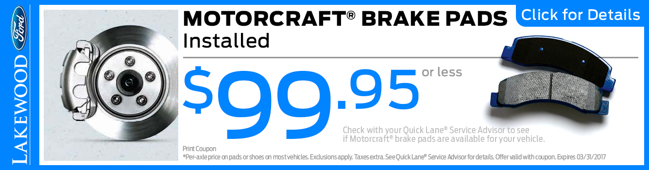 Click to View this Motorcraft Brake Pads Installed Service Special in Lakewood, WA