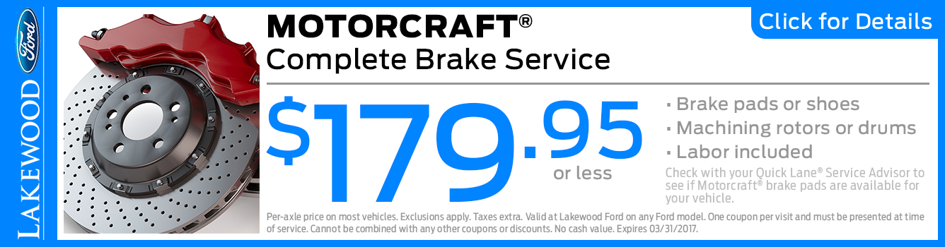 Click to View this Motorcraft Complete Brake Service Special in Lakewood, WA