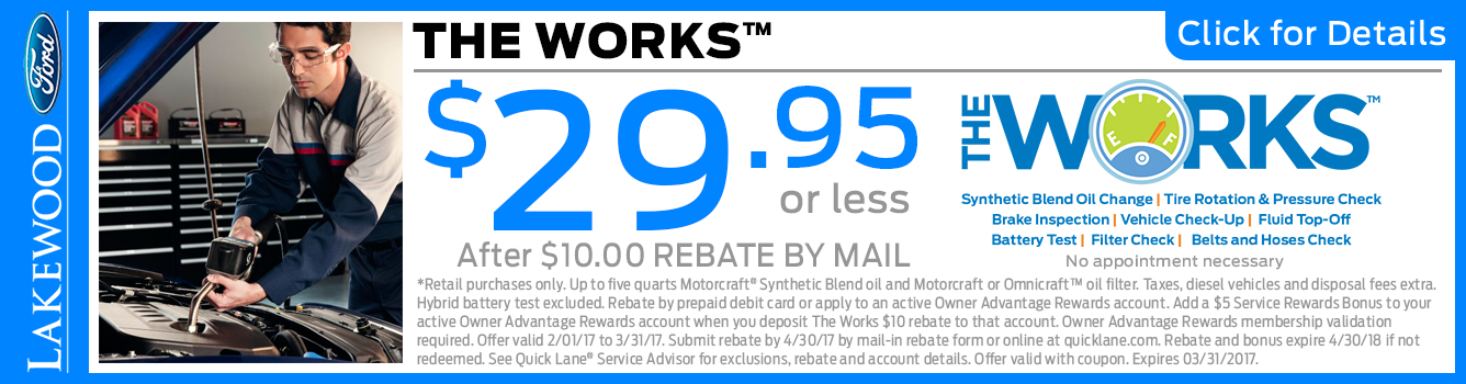 Click to View this Ford The Works Service Package Special in Lakewood, WA