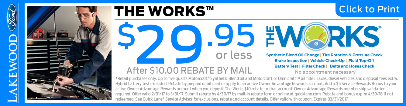 Click to Print this Ford The Works Service Package Special in Lakewood, WA