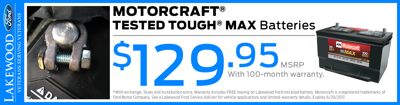 Ford Motorcraft Tough Max Battery Parts Special in Lakewood, WA