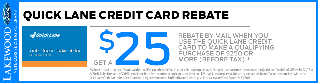 Ford Quick Lane® Credit Card Rebate Parts Special in Lakewood, WA