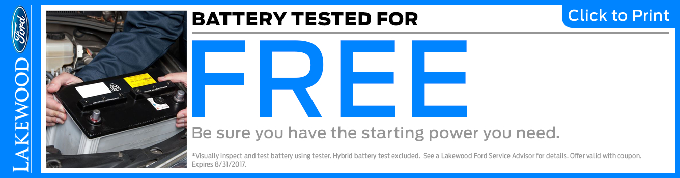 Click to Print this Ford Free Battery Test Service Special in Lakewood, WA