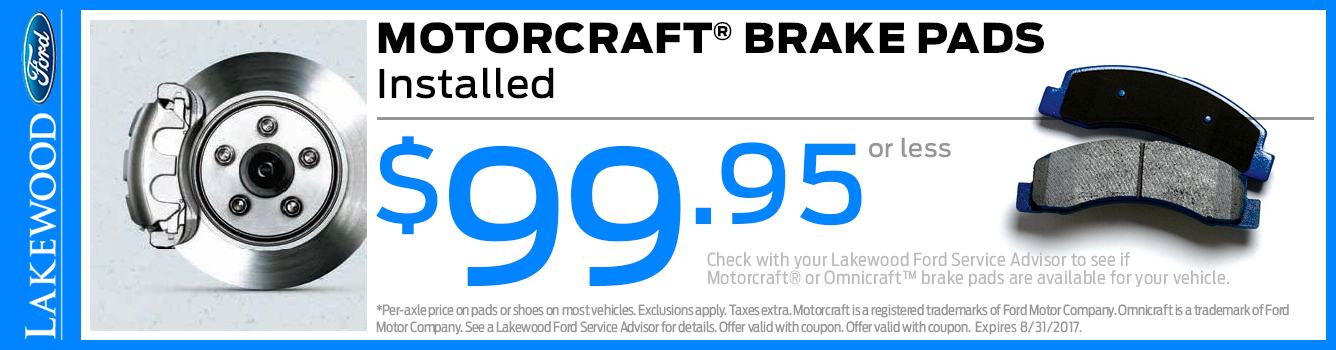 Ford Motorcraft Brake Pads Service Special in Lakewood, WA