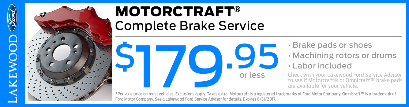Ford Motorcraft Complete Brake Service Special in Lakewood, WA