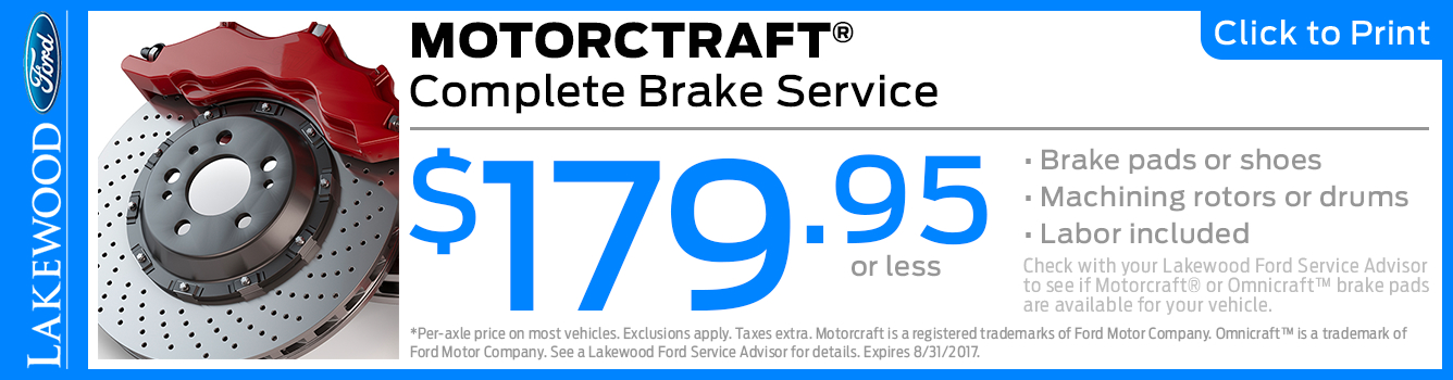 Click to Print this Ford Motorcraft Complete Brake Service Special in Lakewood, WA