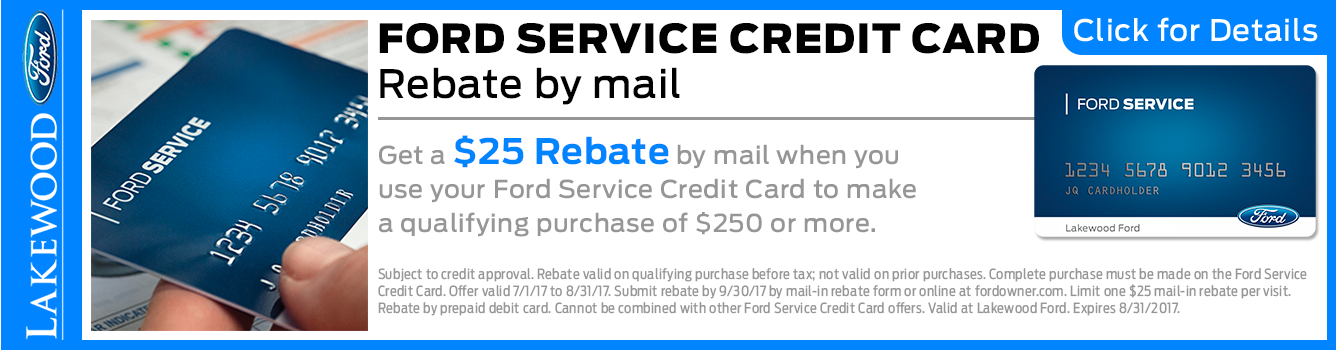Click to View Our Ford Service Credit Card Rebate Special in Lakewood, WA