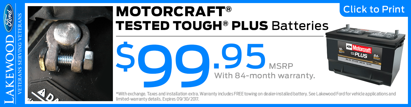 Genuine Motorcraft Tested Tough Plus Battery Parts Special at Lakewood Ford serving Tacoma, WA
