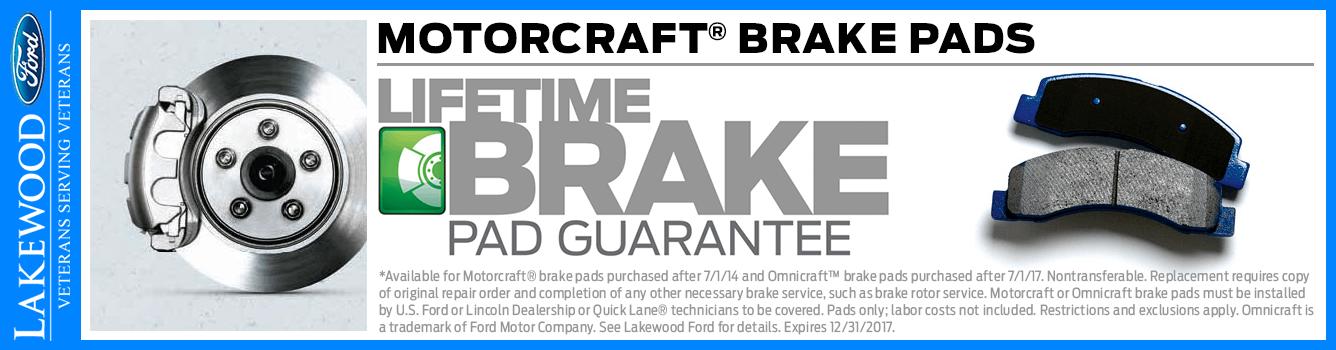 Lifetime Brake Pad Guarantee at Lakewood Ford serving Tacoma, WA