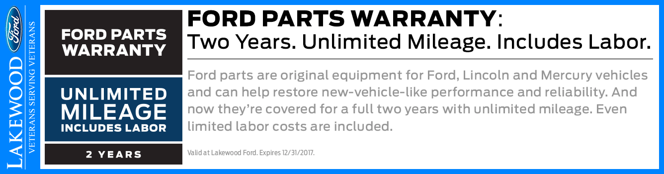 2-Year Genuine Ford Parts Warranty Available at Lakewood Ford near Tacoma, WA