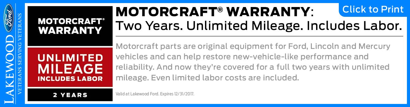 2-Year Genuine Motorcraft Parts Warranty Available at Lakewood Ford serving Tacoma, WA