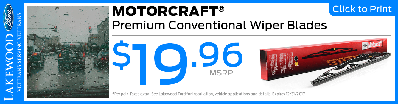 Genuine Motorcraft Premium Conventional Wiper Blades Parts Special at Lakewood Ford serving Tacoma, WA