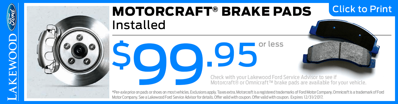 Motorcraft Brake Pads & Installation Service Special at Lakewood Ford serving Tacoma, WA