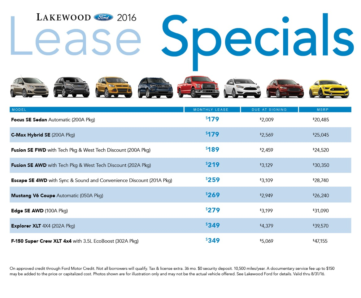 New Ford Lease Specials available at Lakewood Ford serving Tacoma & Olympia, WA