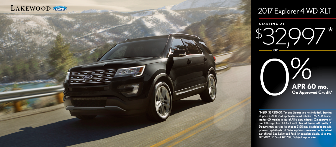 2017 Ford Explorer XLT 4WD Sales Special in Lakewood, WA