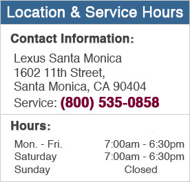 Lexus Santa Monica Service Hours and Location