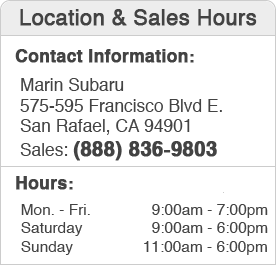Marin Subaru Sales Department Hours, Location, Contact Information