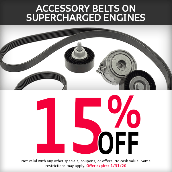 McKenna Audi 15% off Accessory Belts on Supercharged Engines Parts Special