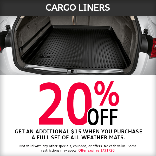 McKenna Audi 20% off cargo liners Parts Special
