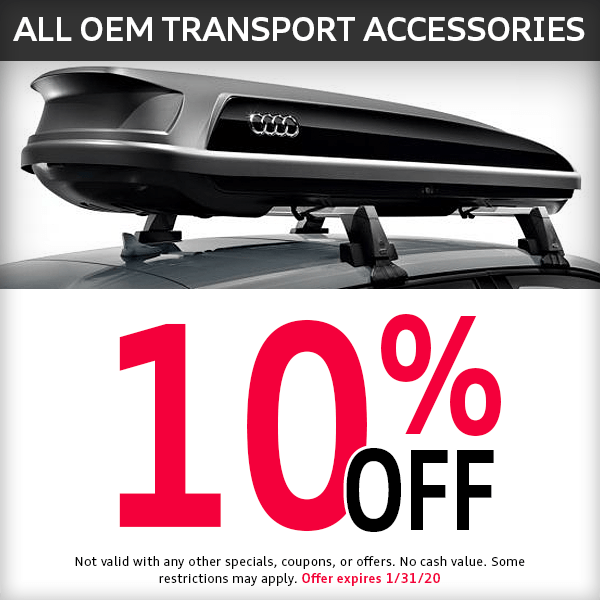 McKenna Audi 10% off all OEM transport accessories Parts Special