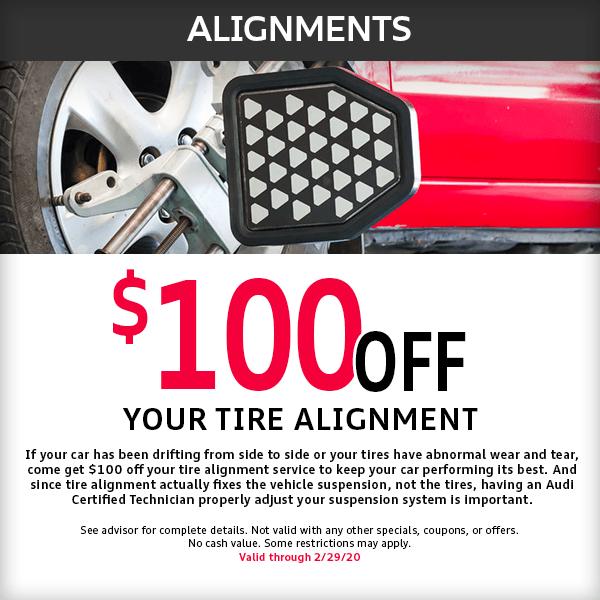 Save $100 off Alignments at McKenna Audi service department in Norwalk, CA