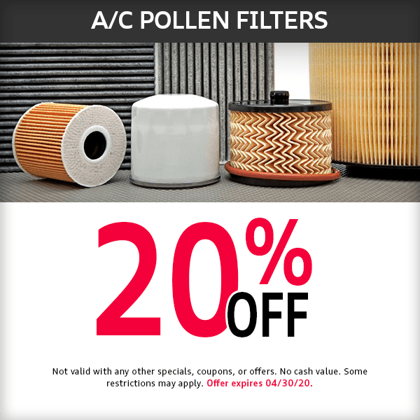 20% Off A/C Pollen Filters Part Special at Mckeena Audi in Norwalk, CA