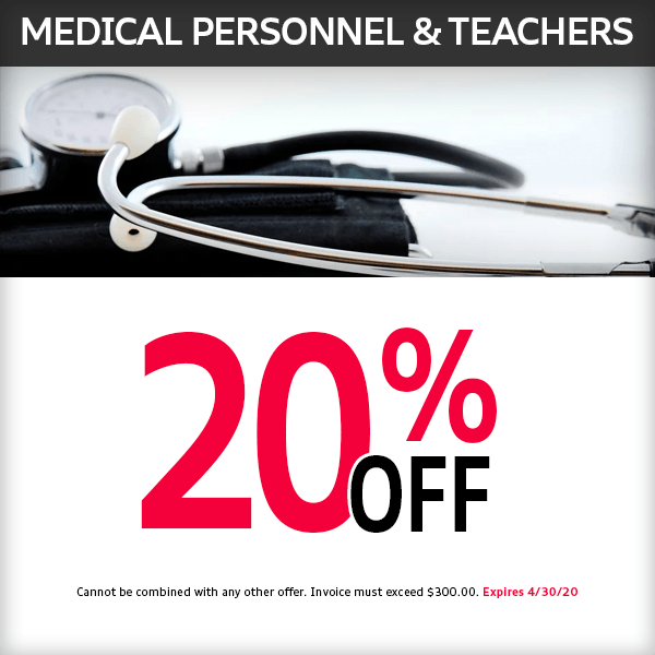 Save 20% off for all Medical Personnel and Teachers at McKenna Audi service department in Norwalk, CA
