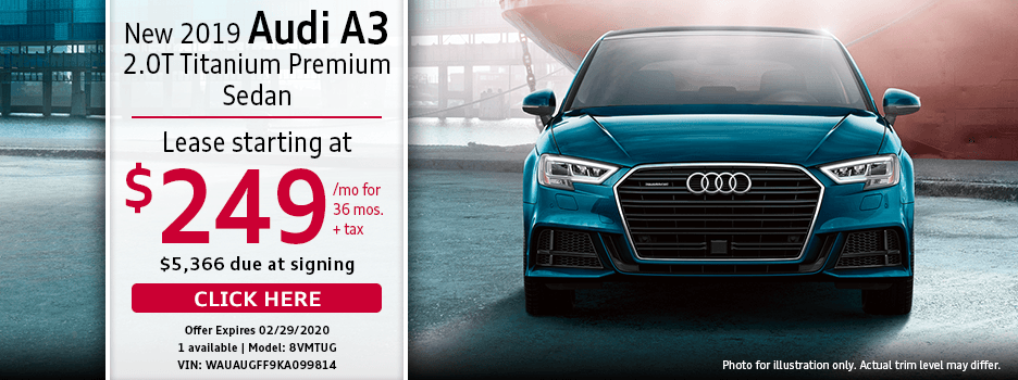 New 2019 AUDI A3 2.0T TITANIUM Premium Sedan Lease Special in Norwalk, CA
