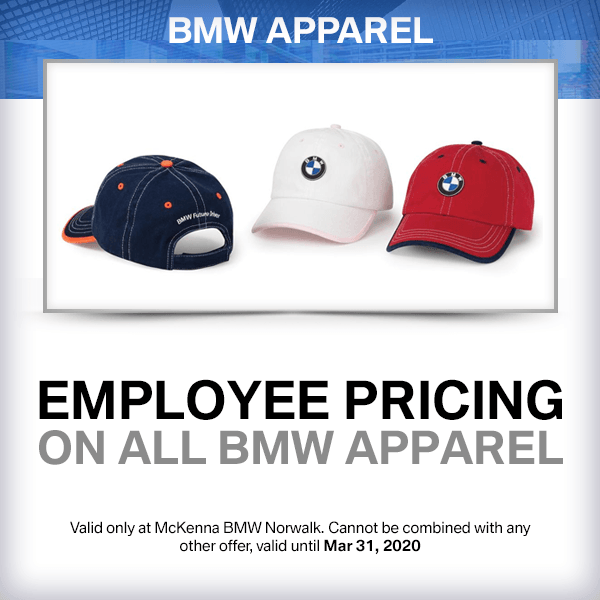 EMPLOYEE PRICING ON ALL BMW APPAREL parts special at McKenna BMW in Norwalk, CA