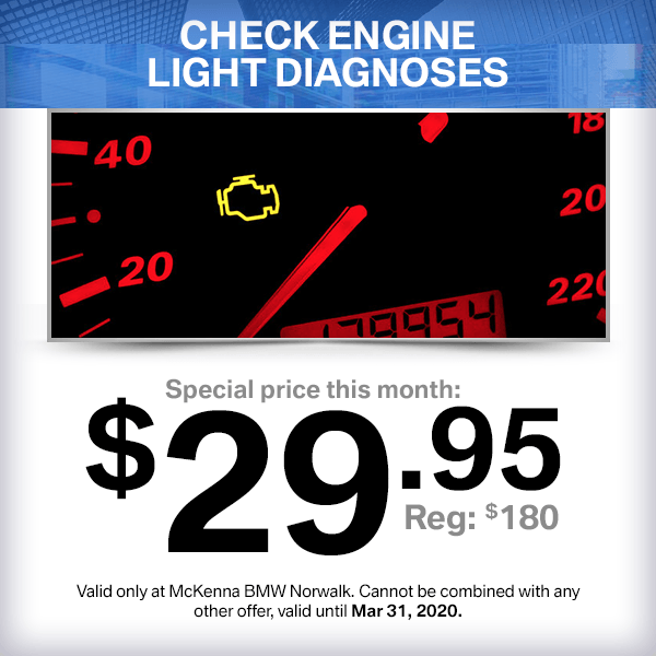 Check Engine Light Diagnoses service special at McKenna BMW in Norwalk, CA