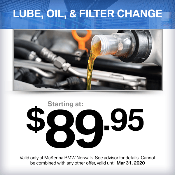 Lube, Oil, and Filter Change service special at McKenna BMW in Norwalk, CA