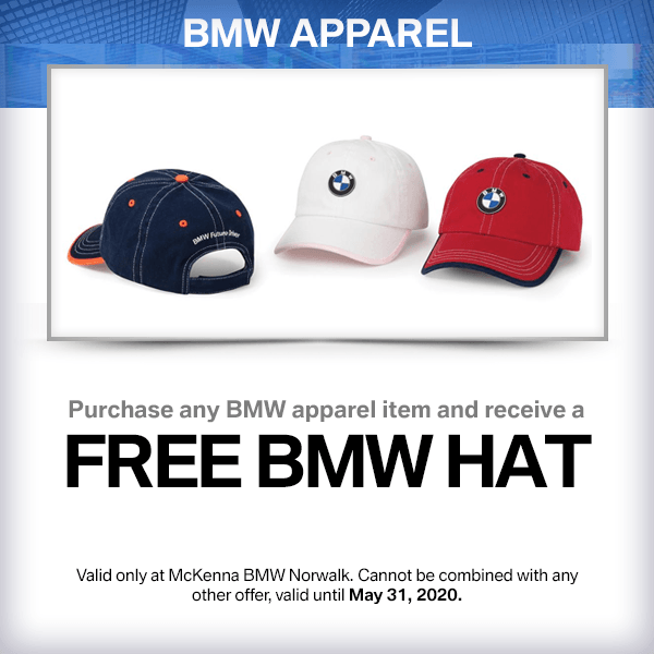 Purchase any BMW apparel item and receive a free BMW hat