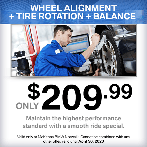 Wheel alignment + tire rotation + balance only $209.99service special at McKenna BMW in Norwalk, CA