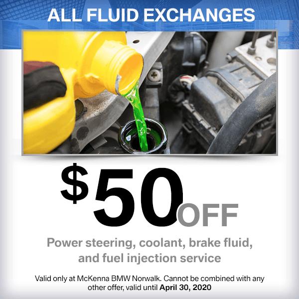 $50 off all fluid exchangesservice special at McKenna BMW in Norwalk, CA