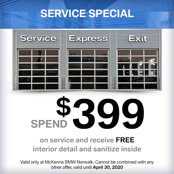 Spend $399 on service and receive Free interior detail and sanitize insideservice special at McKenna BMW in Norwalk, CA