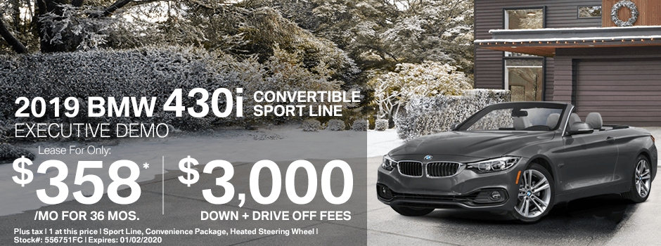 2019 BMW 430i Convertible Sport Line Special Demo Lease Savings in Norwalk, CA