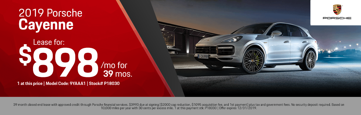 2019 Porsche Cayenne Low Payment Lease Special in Norwalk, CA