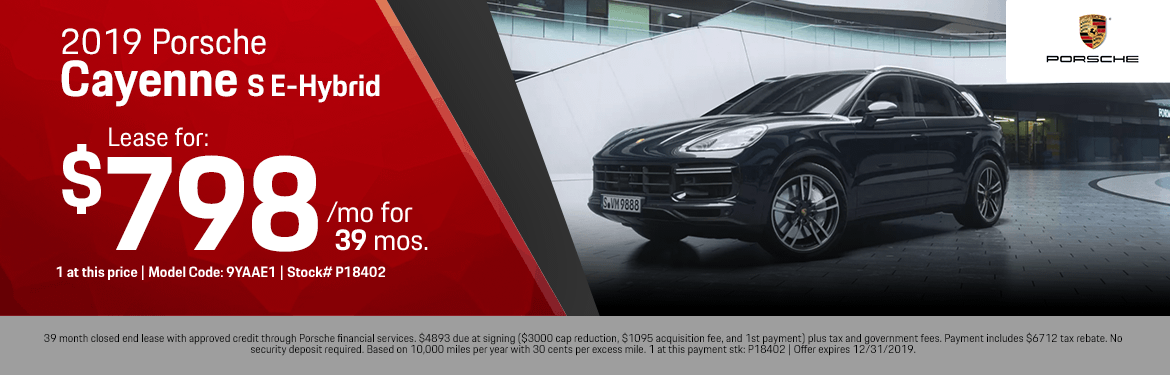 2019 Porsche Cayenne S E-Hybrid Low Payment Lease Special in Norwalk, CA